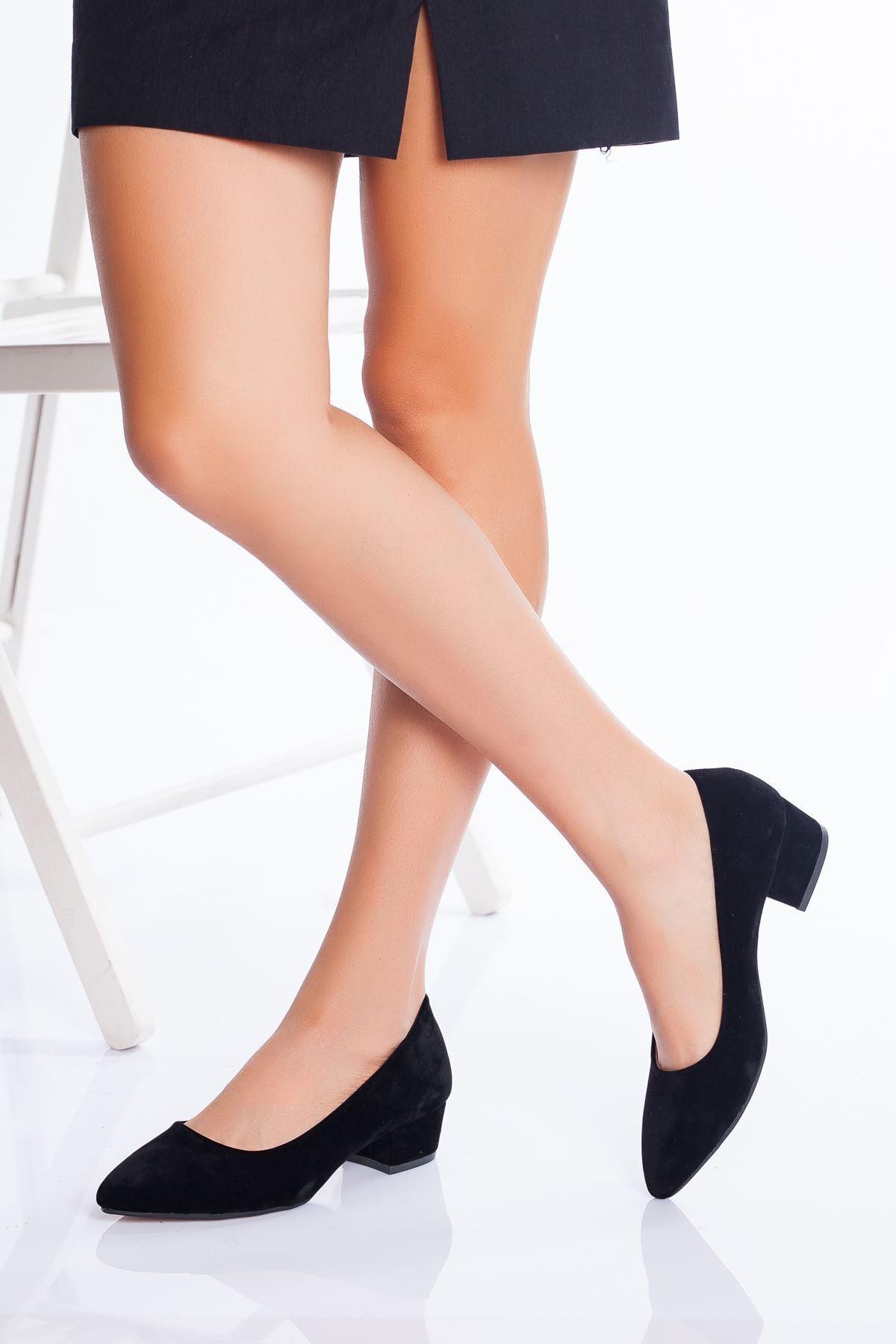 derithy Kadın Siyah Süet Klasik Topuklu Ayakkabı 1