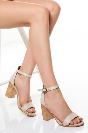 derithy Kadın Bej Süet Kasik Topuklu Ayakkabı