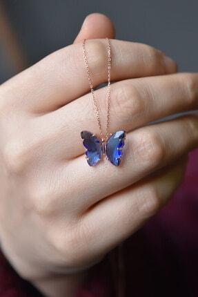 Papatya Silver 925 Ayar Gümüş Nano Ay Taşı Mavi Kelebek Kolye