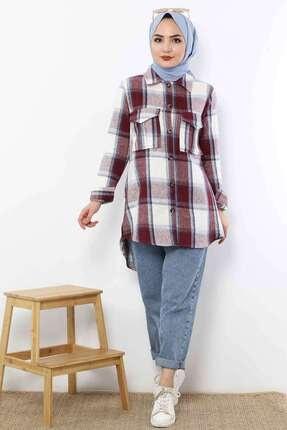 Tesettür Dünyası Kadın Bordo Ekose Oduncu Gömlek