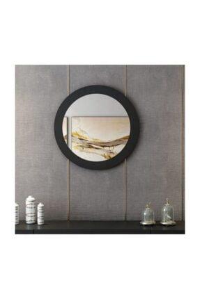 bluecape Yuvarlak Siyah Renk Duvar Salon Ofis Aynası 60 cm