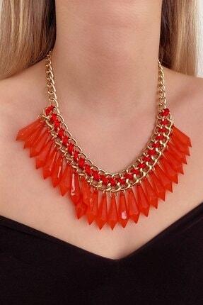 TAKIŞTIR Kadın Kırmızı Renk Özel Tasarım  Kolye