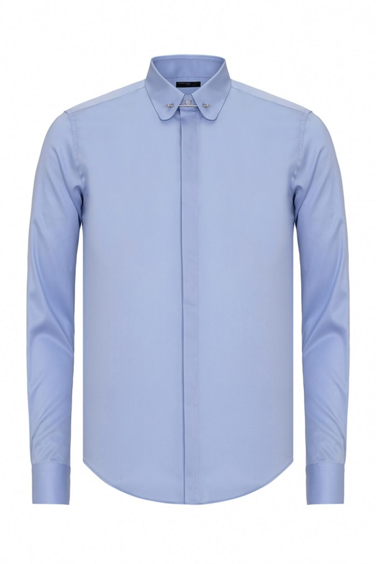 Paşahan Erkek Mavi Slim Fit Bebe Yaka İğneli Gömlek 1