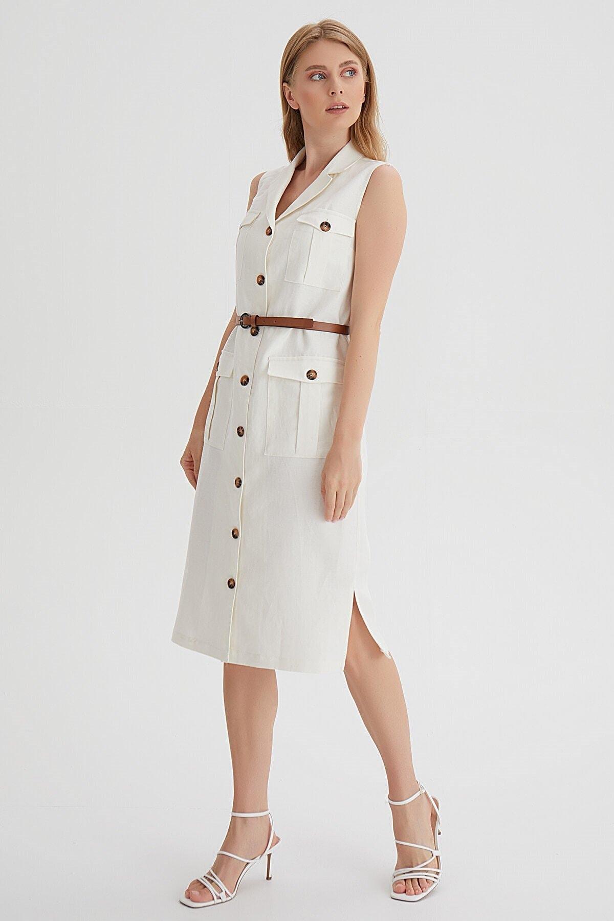 Chima Kemerli Kolsuz Elbise 1