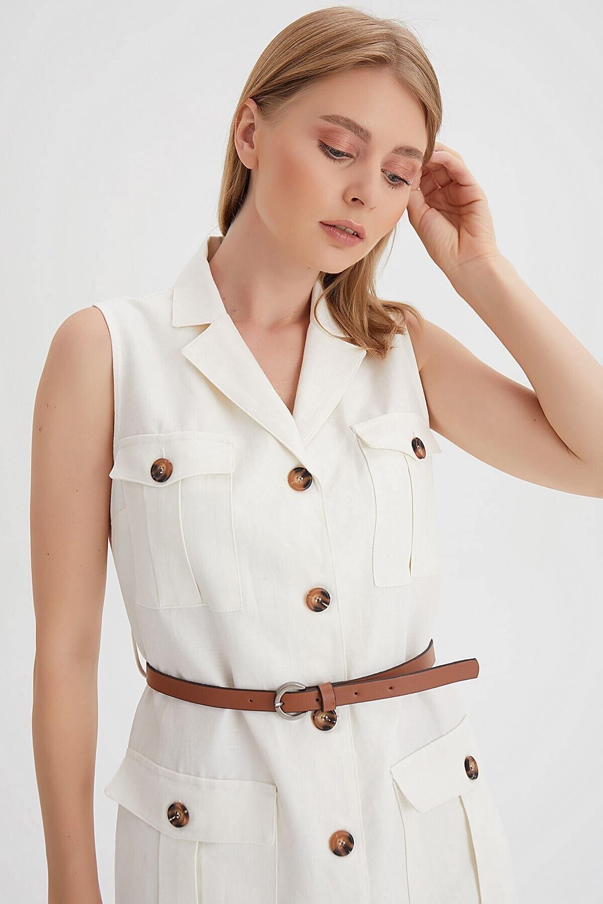 Chima Kemerli Kolsuz Elbise 2