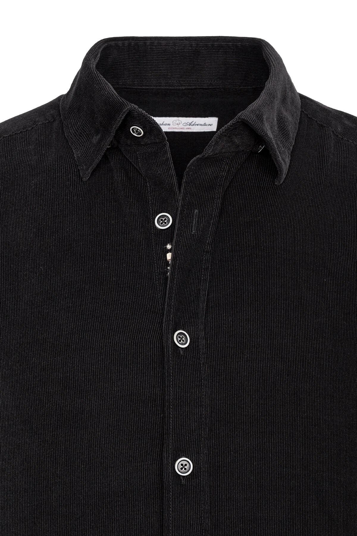 Paşahan Erkek Siyah Kadife Slim Fit Gömlek 2