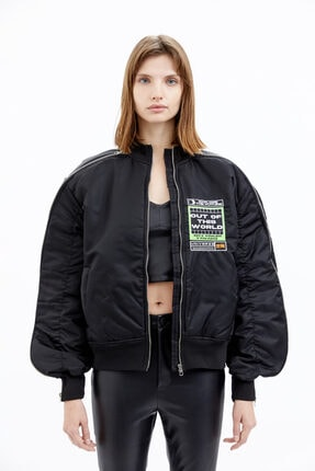 Befour Unisex Siyah Space Bomber Mont