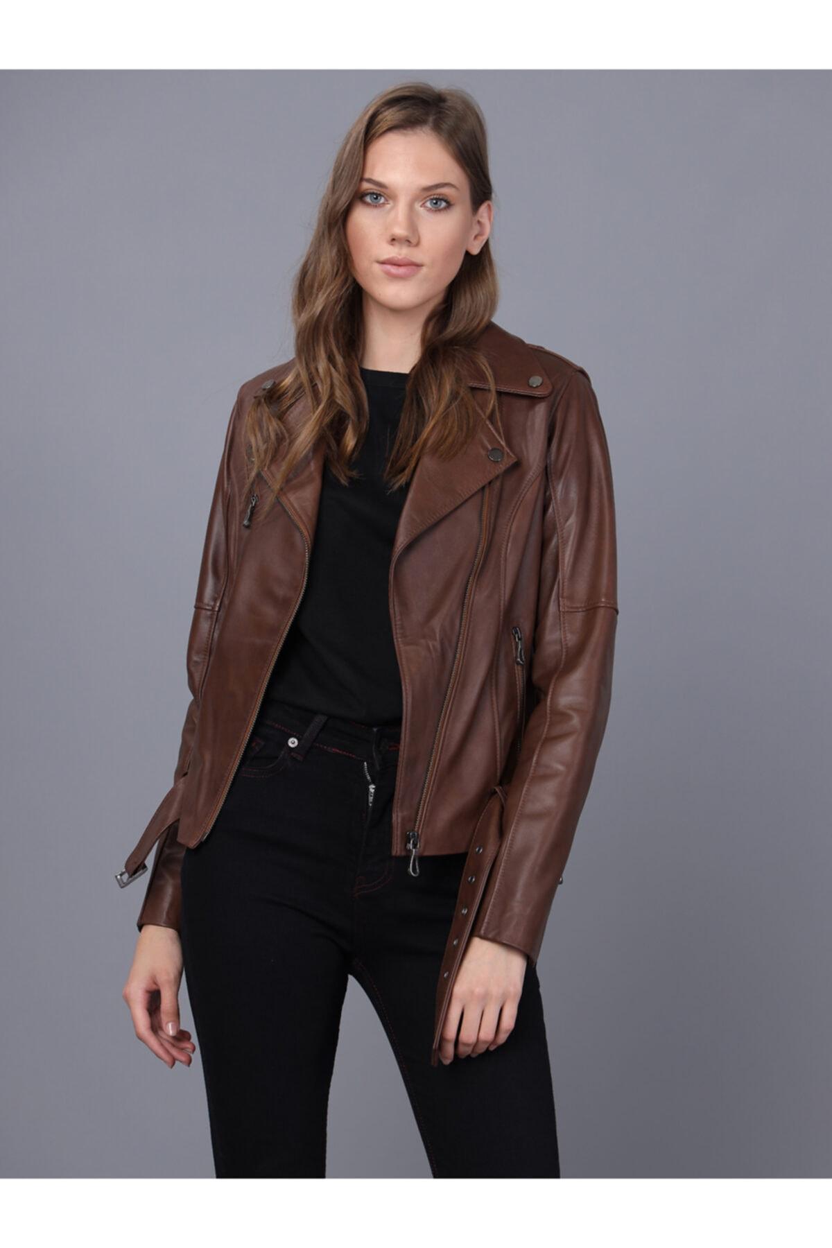 Basics&More Kadın Kestane Deri Ceket 1