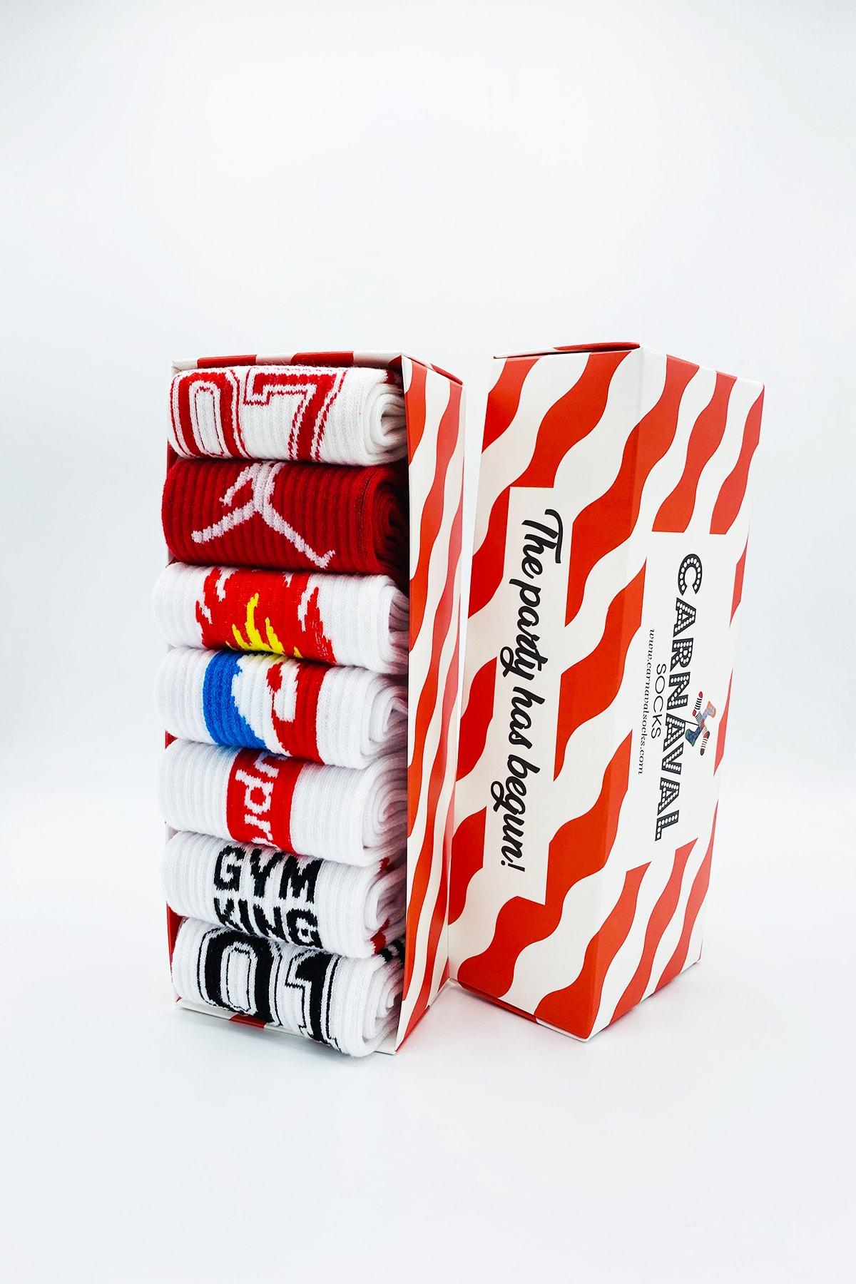 CARNAVAL SOCKS 7'li Gym Spor Desenli Atletik Çorap Set 1045 1