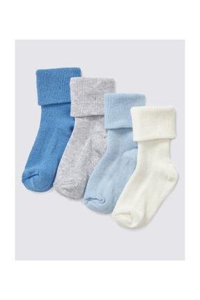Marks & Spencer Erkek Bebek 4'lü Pamuklu StaySoft™ Çorap (0 - 24 Ay)