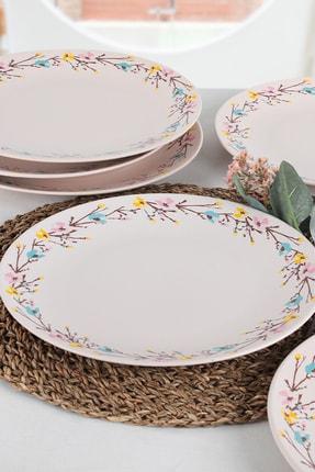 Keramika İlkbahar Çiçekleri Servis Tabağı 25 Cm 6 Adet