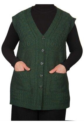 Fresh&Moda Kadın Hakı Yeşil Düğmeli Yelek