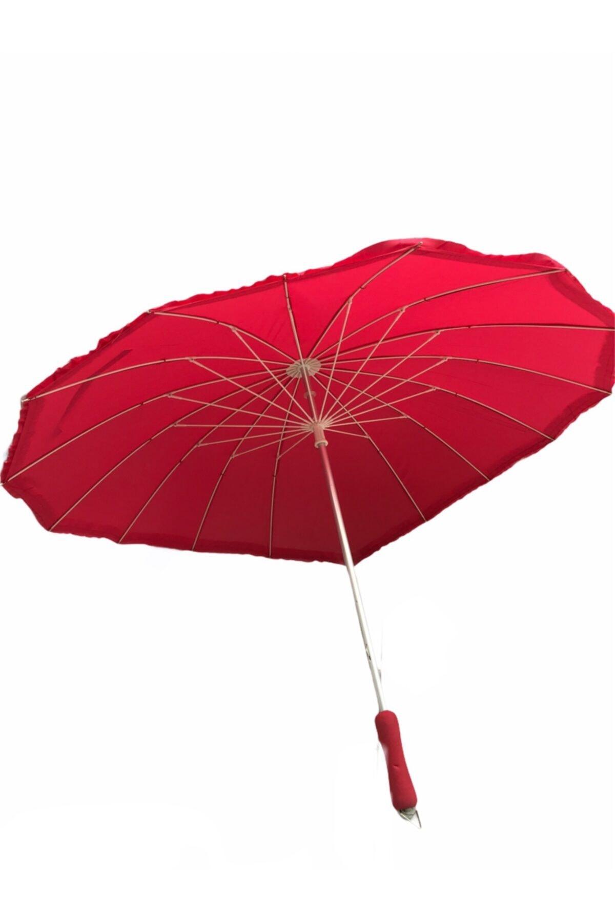 Almera Sevgililer Gününe Özel Kalpli Manuel 16 Telli Şemsiye 2