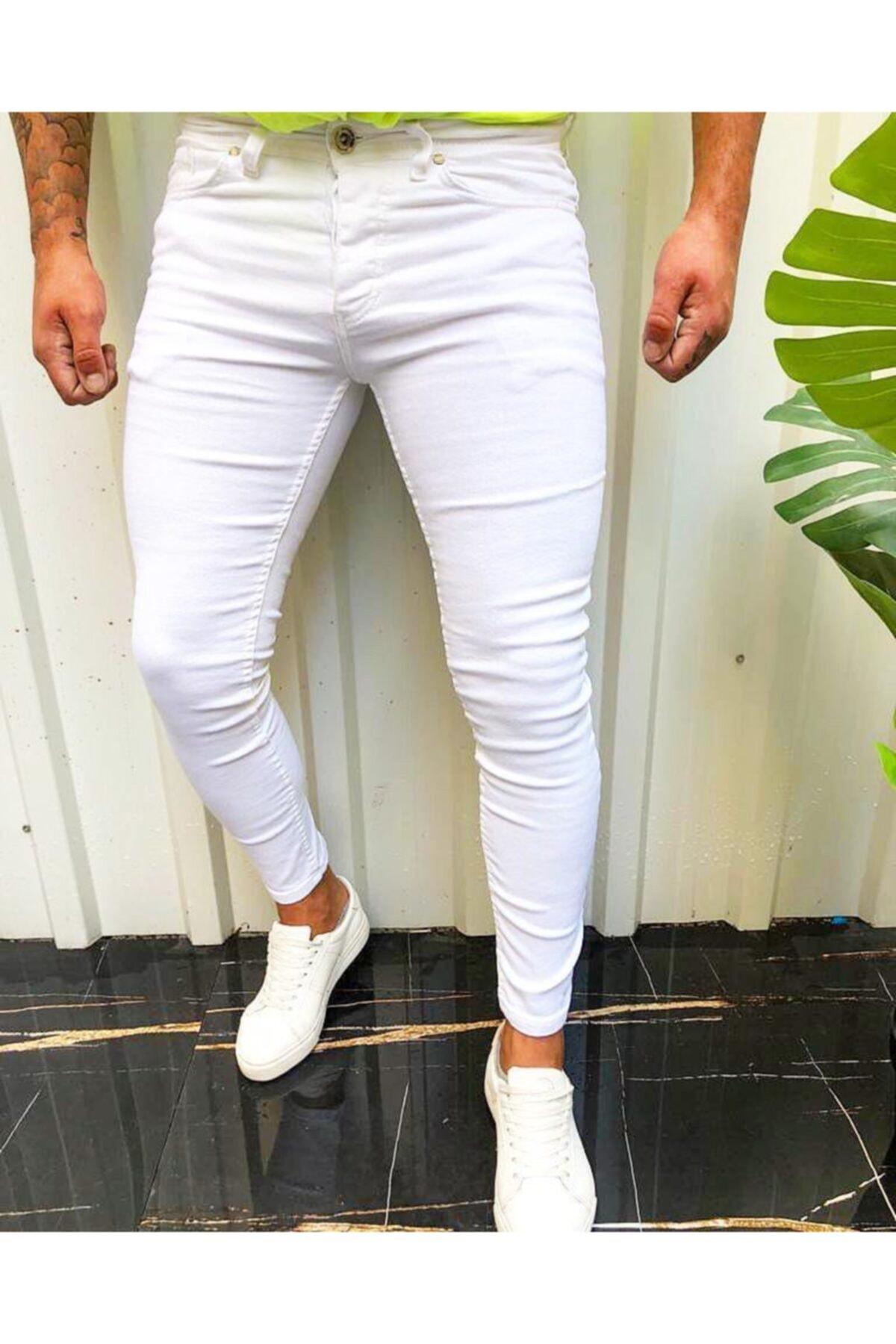 ukdwear Erkek Beyaz Italyan Kesim  Kot Pantolon 1