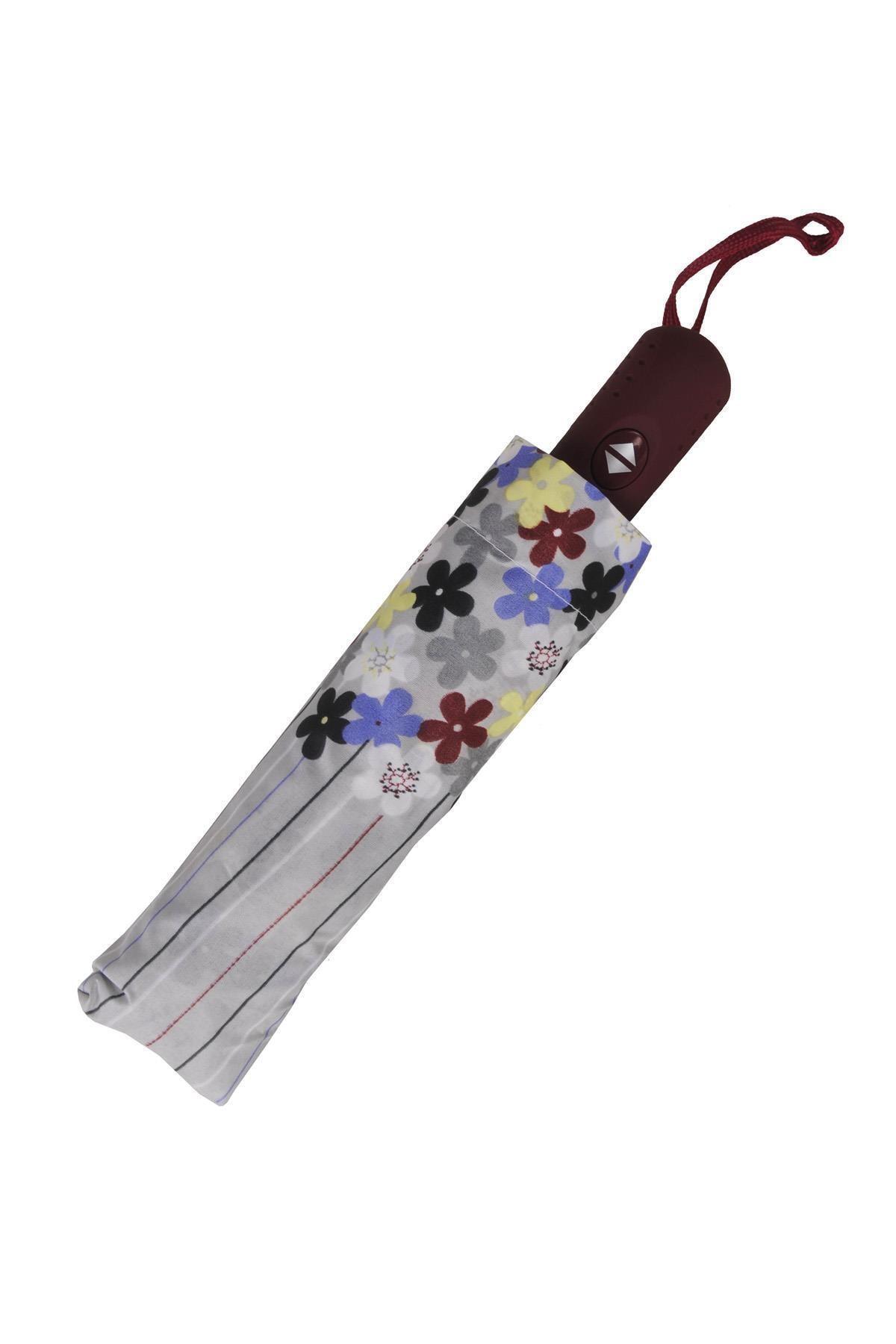 TREND Tam Otomatik Şemsiye Çiçek Desenli Gri 6638 2