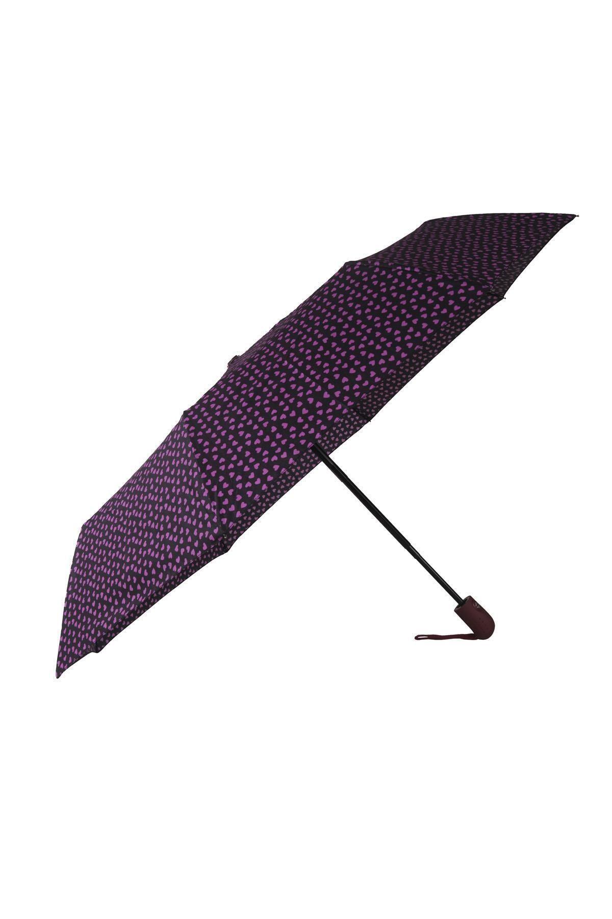 TREND Tam Otomatik Şemsiye Kalp Desenli Mor 6639 1