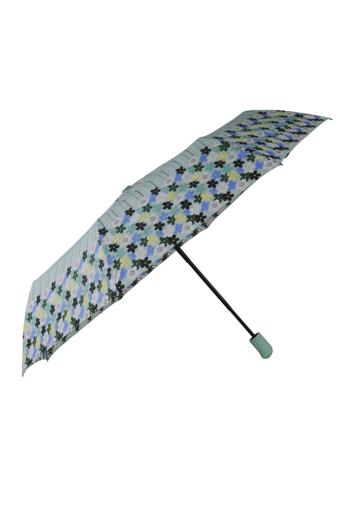 TREND Tam Otomatik Şemsiye Çiçek Desenli Yeşil 6638 1