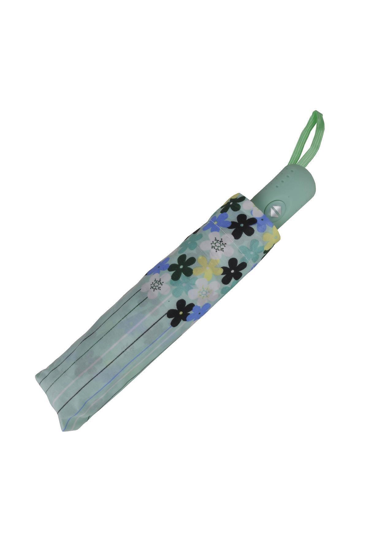 TREND Tam Otomatik Şemsiye Çiçek Desenli Yeşil 6638 2