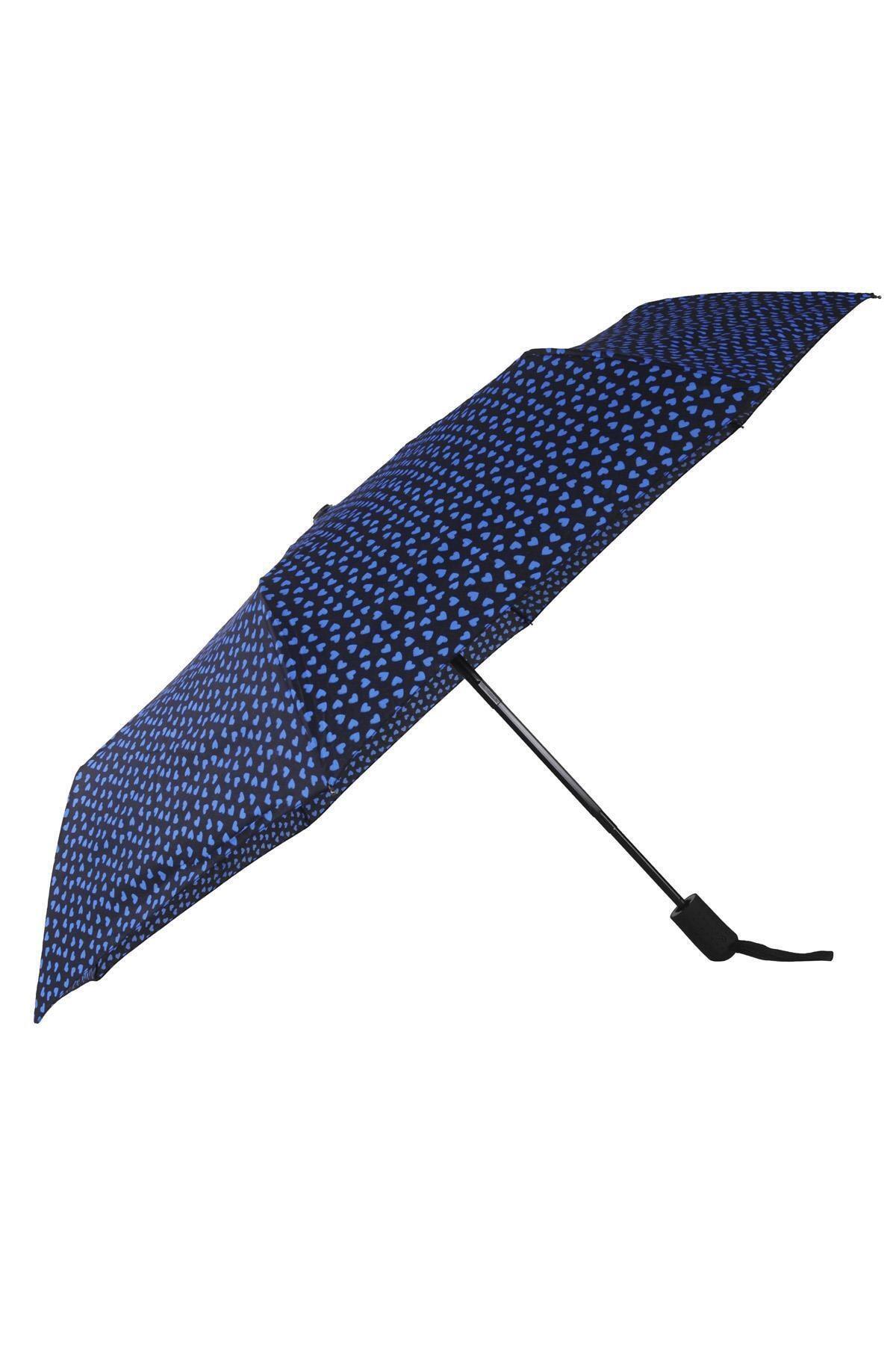 TREND Tam Otomatik Şemsiye Kalp Desenli Lacivert 6639 1