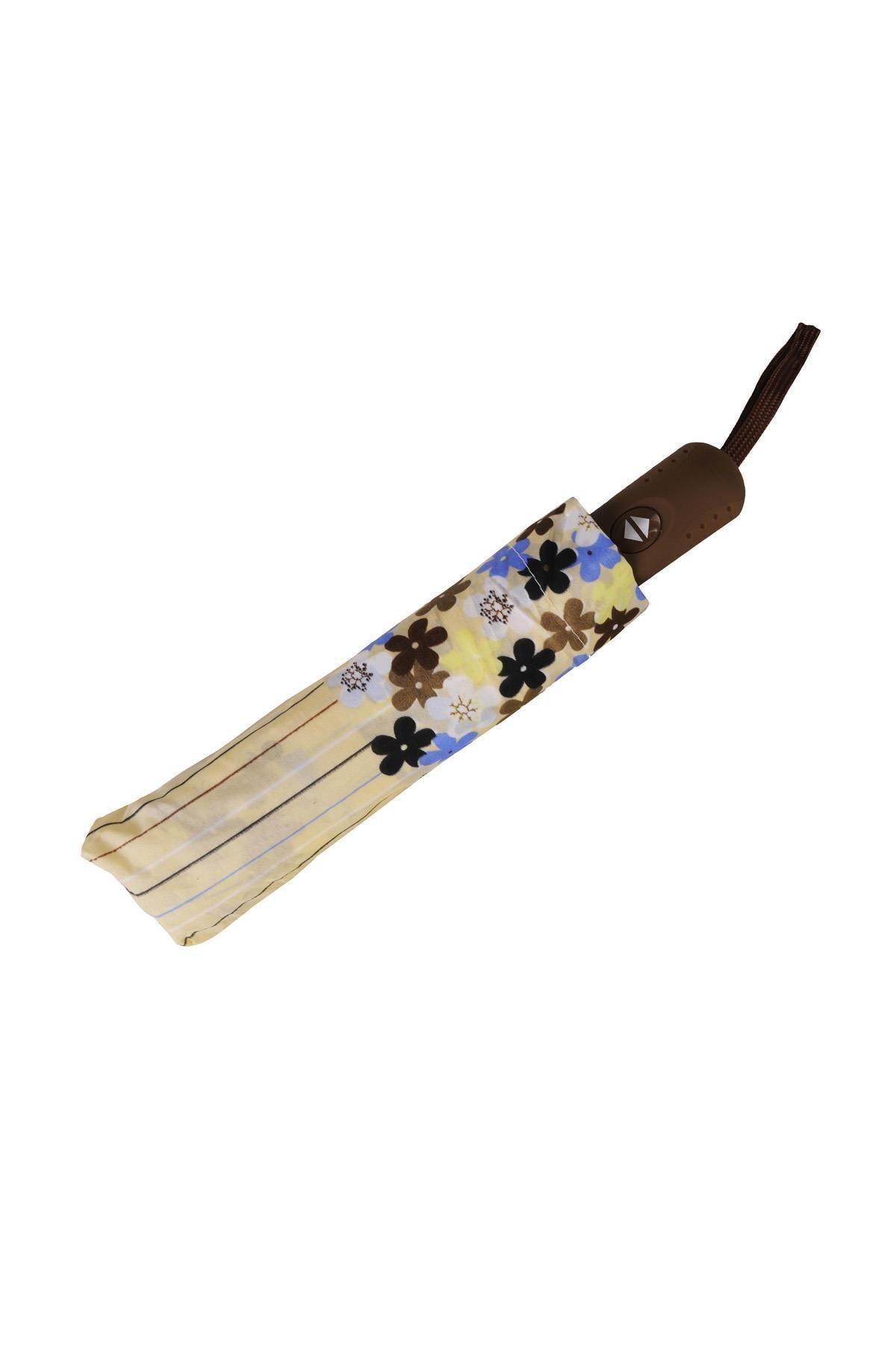 TREND Tam Otomatik Şemsiye Çiçek Desenli Sarı 6638 2
