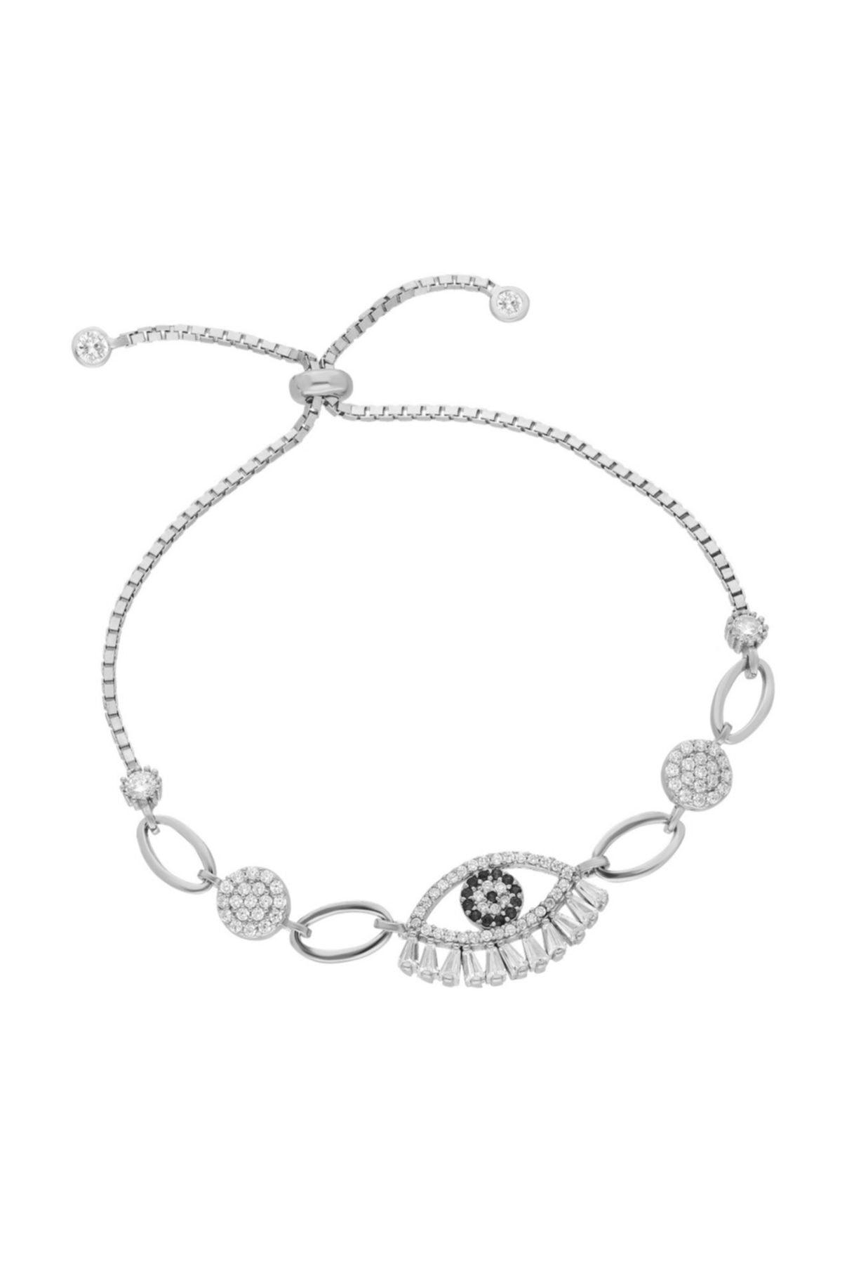 Chavin Baget Nazar Göz Taşlı Asansörlü Gümüş Bileklik Ee52by 1