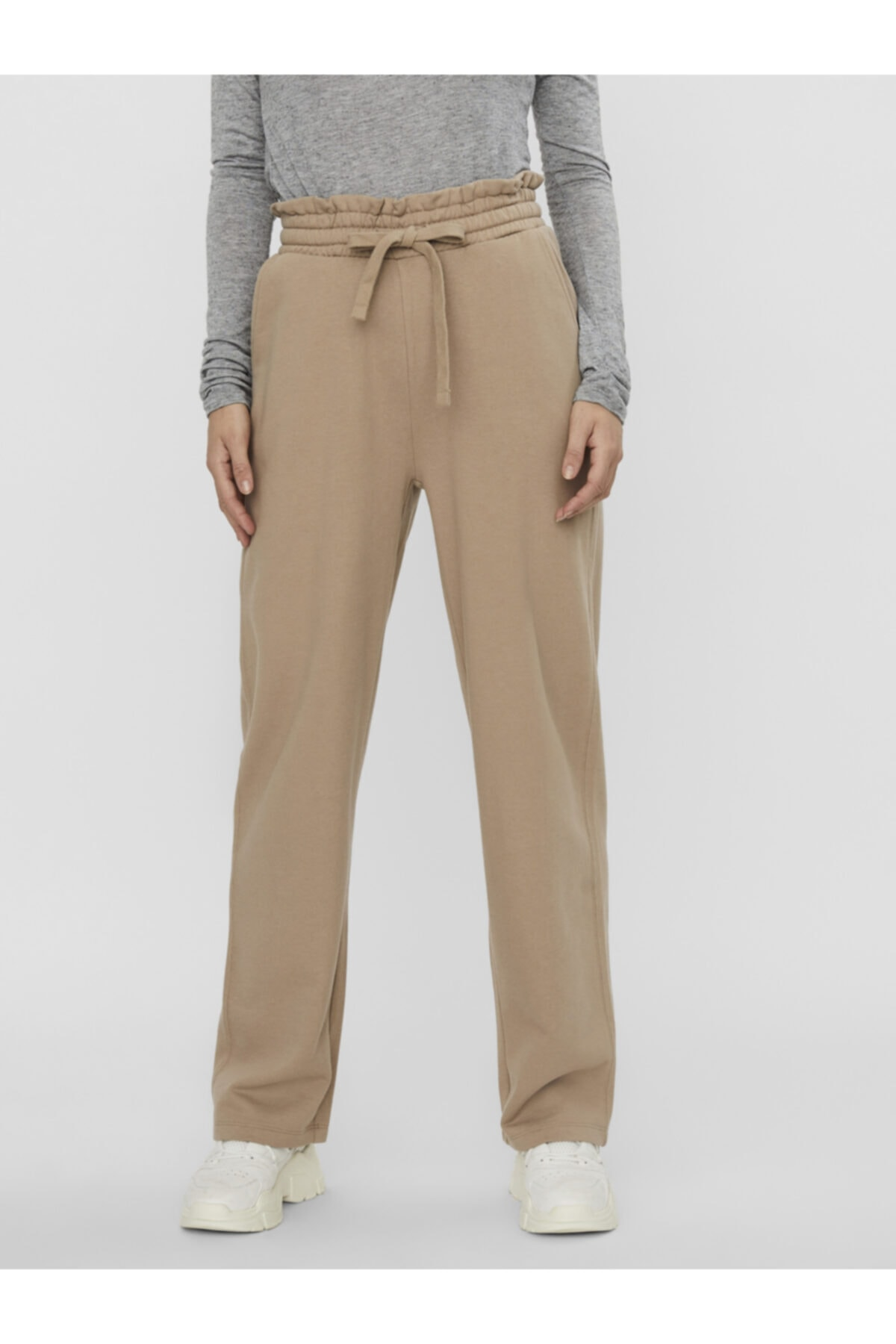 Vero Moda Kadın Ekru Yüksek Bel Sweat Pantolon 2