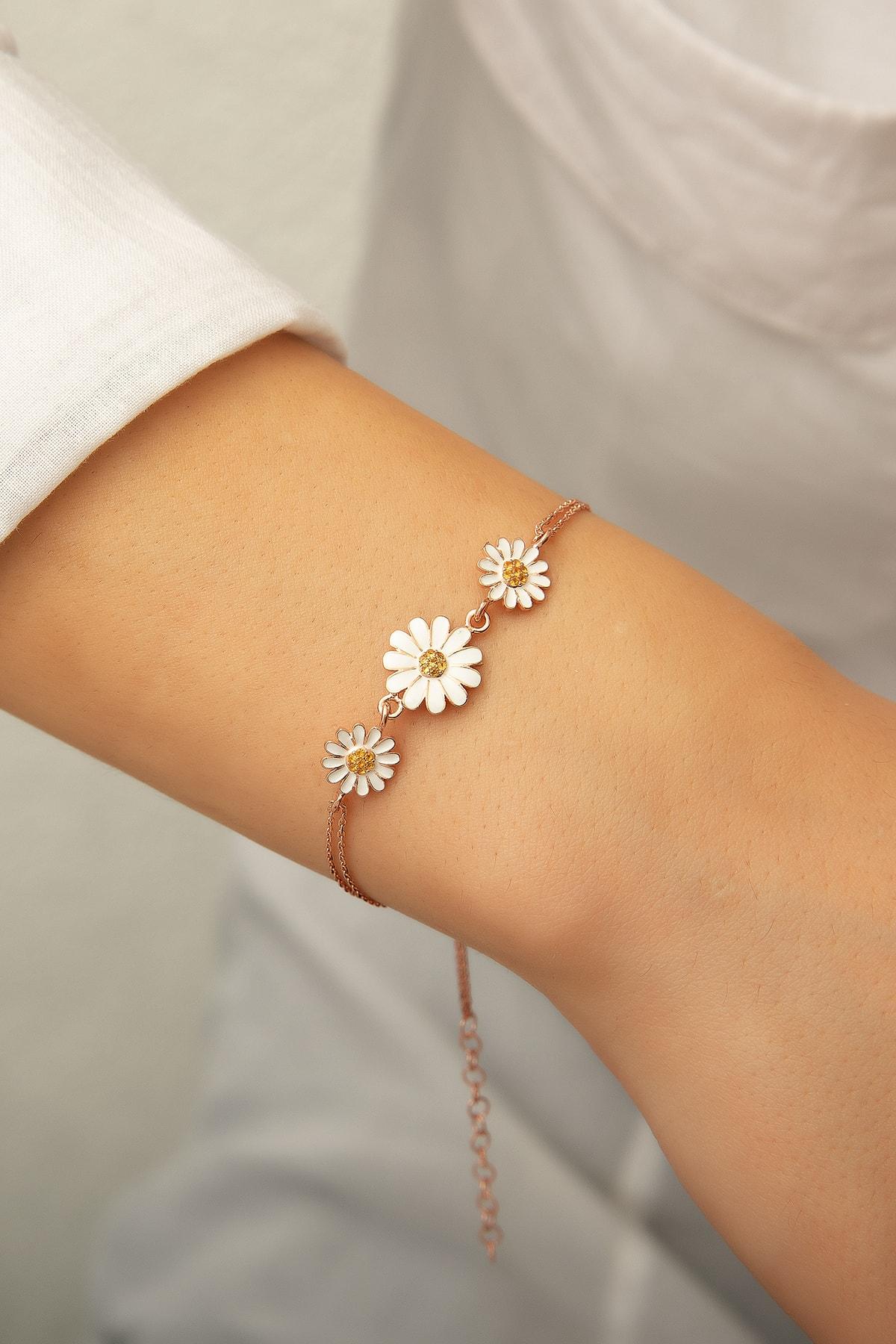 Papatya Silver Üç Papatya Süzme Bileklik - Sarı Nano Zirkon Taşlı Mineli Rose Altın Kaplama 925 Ayar Gümüş 1