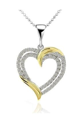 Chavin Çift Sıra Altın Kaplama Taşlı Gümüş Kalp Kolye Cd97
