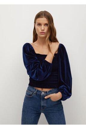 MANGO Woman Kadın Mavi Tişört