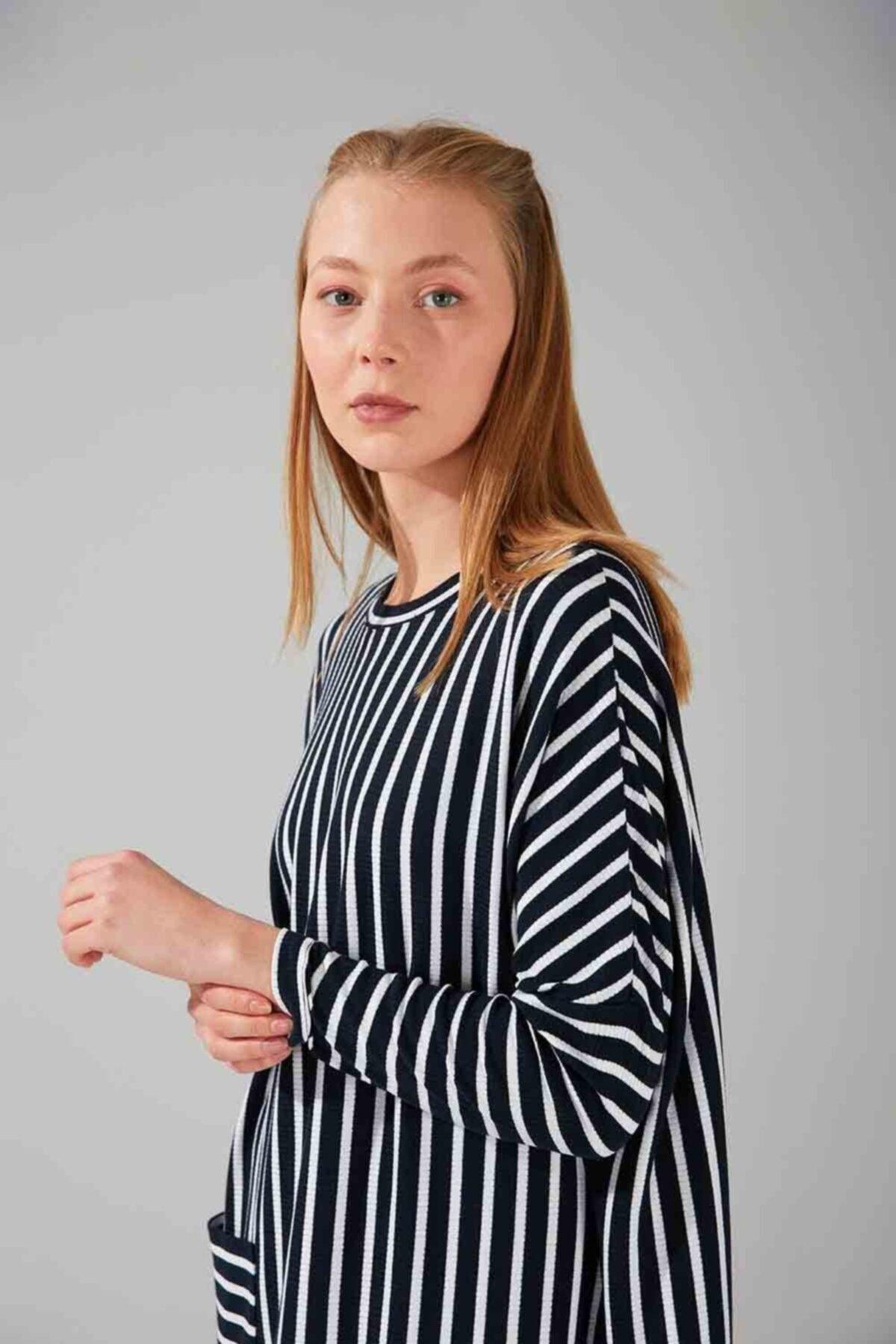 Mizalle Cep Detaylı Çizgili Elbise (lacivert) 2