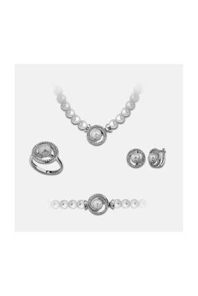 Chavin Inci Gümüş Kolye Küpe Bileklik Yüzük Takım Set Ee02