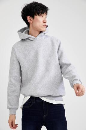 DeFacto Erkek Gri  Slim Fit Kapüşonlu Basic Sweatshirt