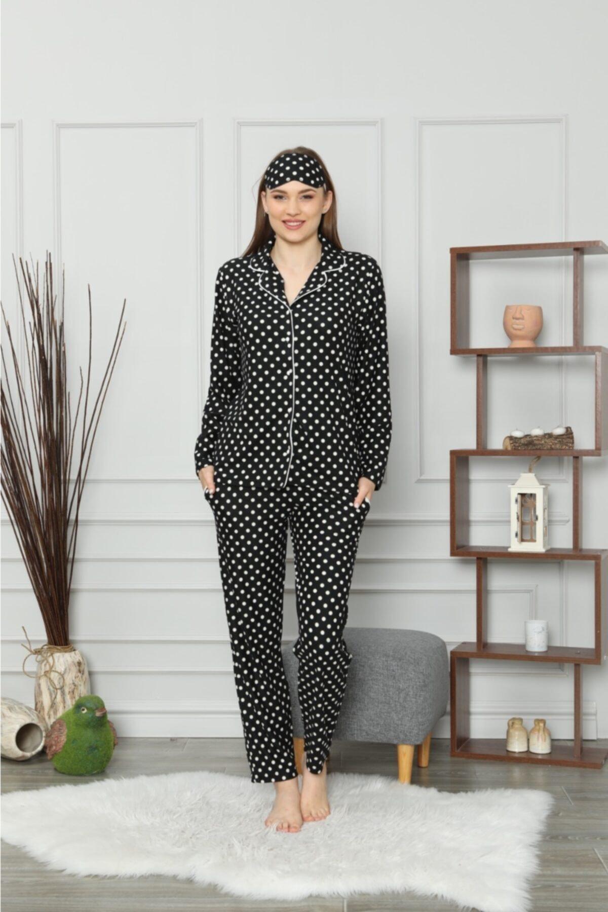 PIJAMAHOME Kadın Siyah  Önden Düğmeli Puanlı Kışlık Pijama Takımı 2