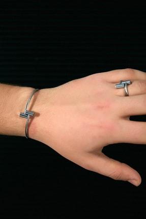 Sateen Men Erkek Gümüş Yüzüklü Çelik Bileklik