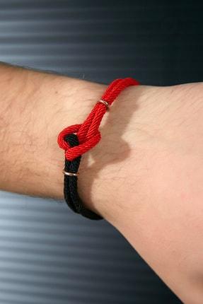 Sateen Men Erkek Siyah-Kırmızı Çelik Uçlu Örgü Bileklik