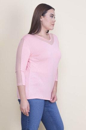 Şans Kadın Pembe Tül Detaylı Bluz 65N21902