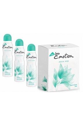 Emotion Aqua Kiss Edt 50 Ml Kadın Parfümü + 3 Ad. 150 Ml. Deo