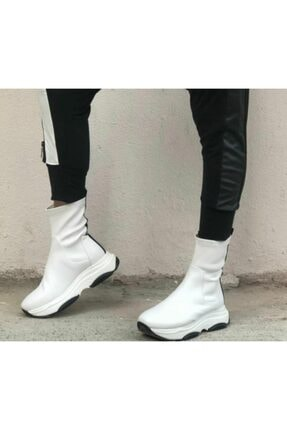 CassidoShoes Kadın Beyaz Tasarım Hakiki Deri Anatomik Taban Streç Bot