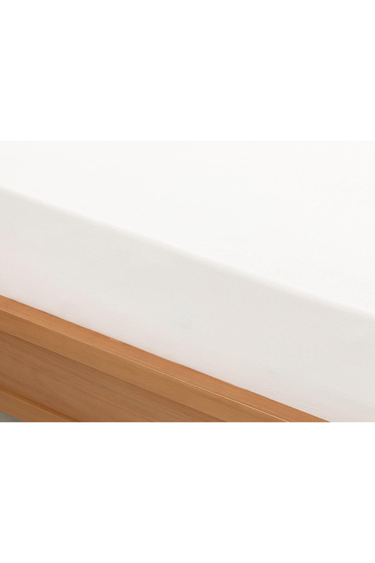 English Home Düz 2 Pamuklu Çift Kişilik Lastikli Çarşaf 160X200 Cm Beyaz 2