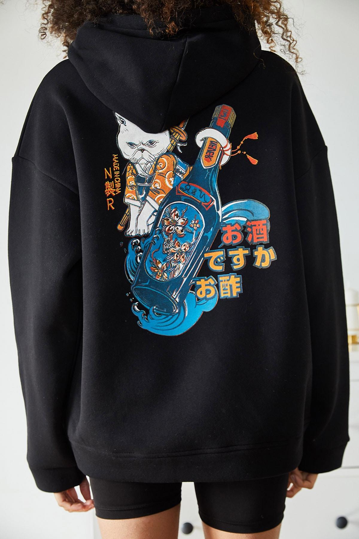 XENA Kadın Siyah Sırtı Baskılı Kapüşonlu Polarlı Kışlık Oversize Sweatshirt 1KZK8-11107-02 2
