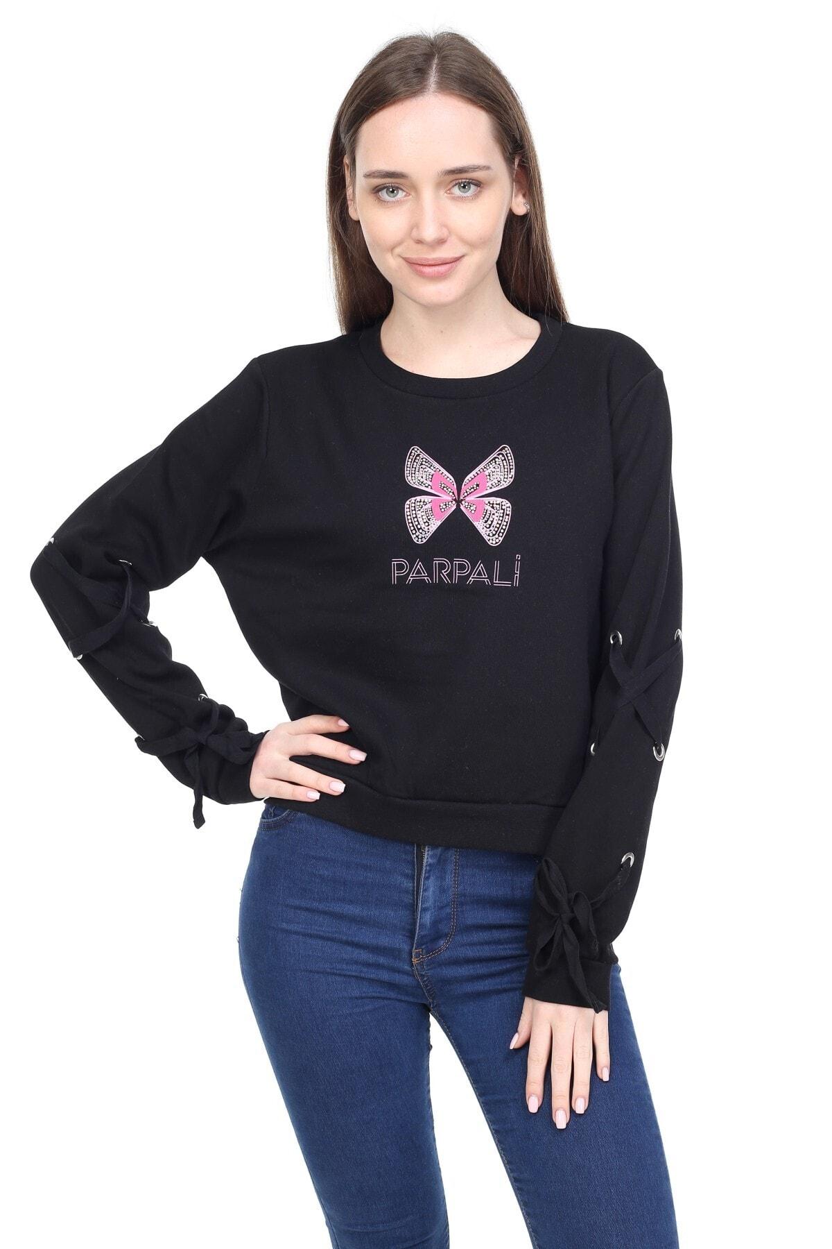 PARPALİ Kadın Siyah Kol Detaylı Mini Bel Üstü Taşlı Baskılı Pamuklu Kelebek Sweatshirt 1