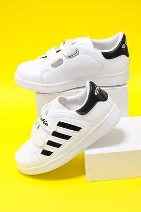 epaavm Çocuk Beyaz Yanı Siyah Şeritli Ayakkabı