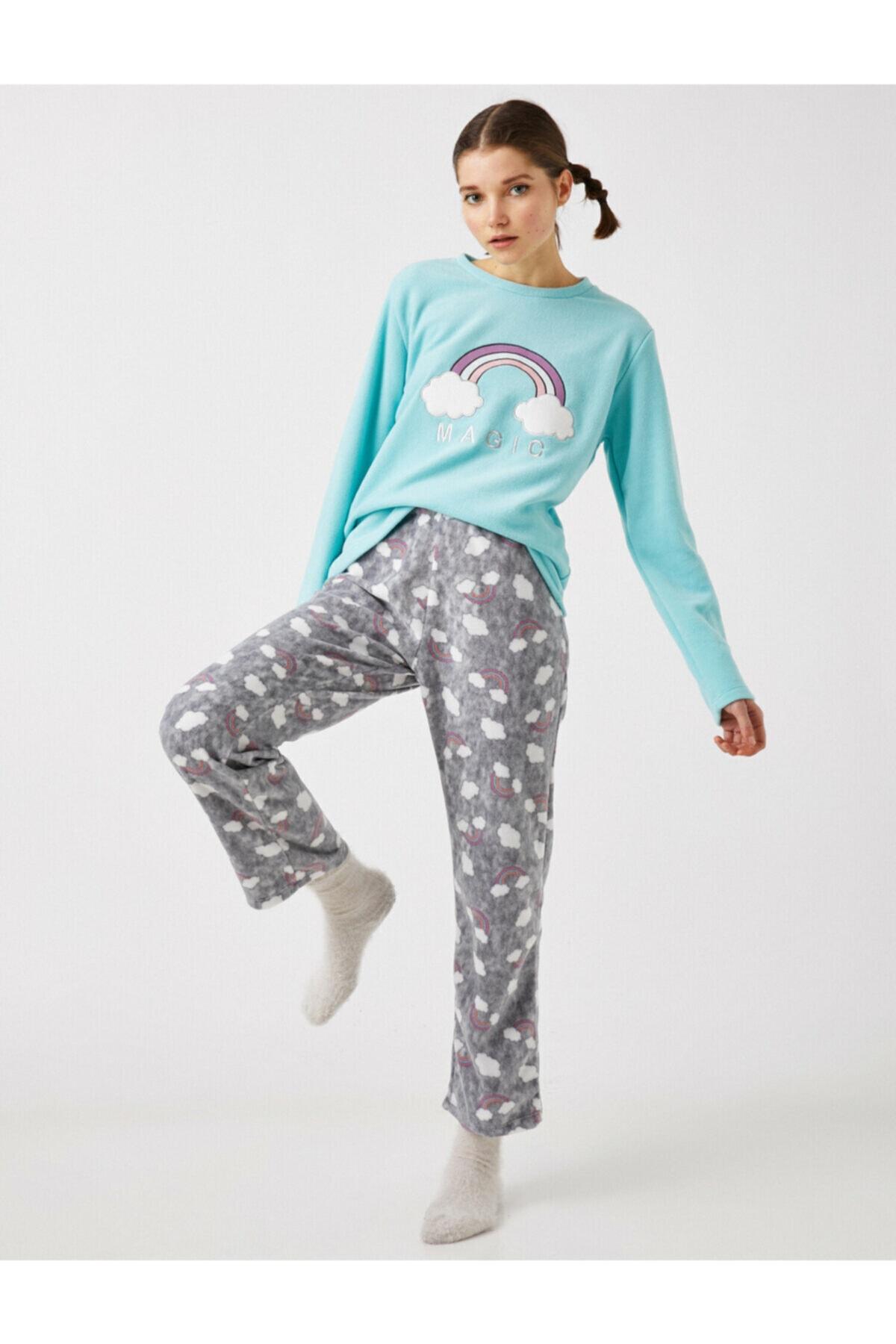 Koton Kadın Ekru Polar Nakis Detayli Pijama Takimi 1