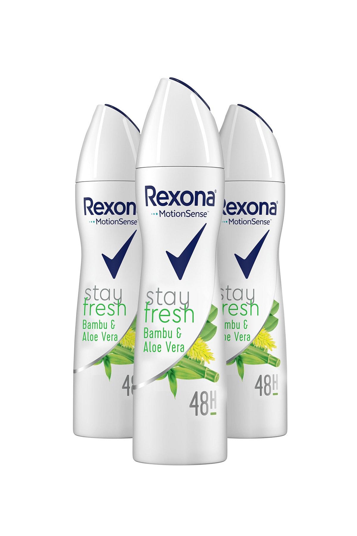 Rexona Stay Fresh Aloe Vera & Bamboo Kadın Sprey Deodorant 150 ml X 3 2
