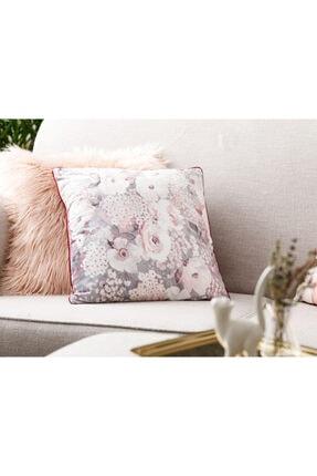 English Home Romantic Floral Kadife Kırlent Kılıfı 45x45 Cm Gri - Pembe