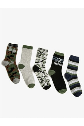 Koton Erkek Çocuk Yeşil 5'li Desenli Pamuklu Çorap Seti