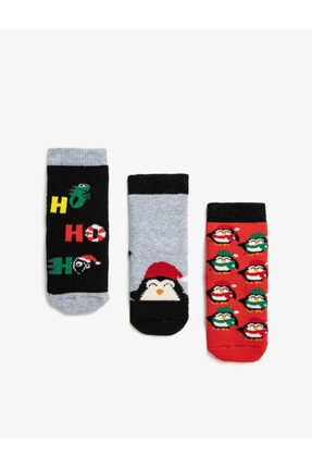 Koton Erkek Bebek 3'lü Yeni Yil Temali Pamuklu Çorap Seti