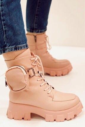Nil Shoes Pudra Pembe Botte Çantalı Bot