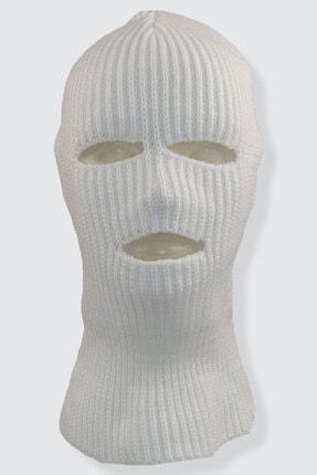 zirve şapka Kışlık Ünisex 3 Gözlü Kar Maskesi Sade Beyaz