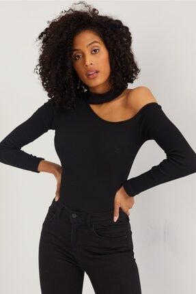 The Base Kadın Siyah Kaşkorse Kumaş Tek Omuz Bluz